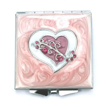Espelhos compactos de coração de pedra preciosa