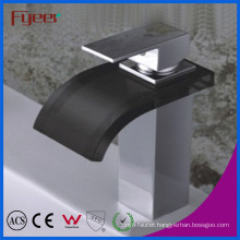 Fyeer Black Glass Spout Waterfall Bathroom Basin Faucet