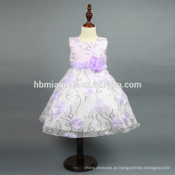 Novo modelo de lantejoulas menina vestido estéreo flor bebê menina vestido de verão com lantejoulas para uso ocidental do partido