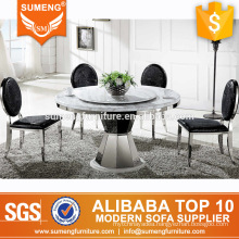 european style luxury marble top stainless steel legs dining table set designs for home