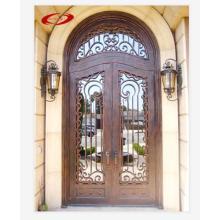 Doble puerta de hierro forjado para entrada al por mayor asequible