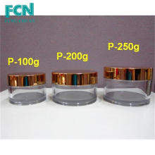 Gold Quality acrílico cuidado de la piel ronda cosméticos PETG 200 ml frasco de plástico cosméticos