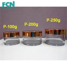 Gold Quality acrylique soin de la peau ronde cosmétiques PETG 200 ml plastic cosmetic jar