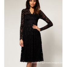 Black Lace Long Sleeves Midi Evening Dresses / Mid-thigh With Straight Skirt