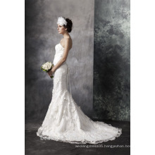 Mermaid Sweetheart Court Train wedding dress Elegant Lace and Satin bridal gown AS30202