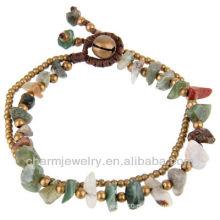 Hand Craft Natural Índia Ágata com contas de bronze pulseira Vners SB-0026