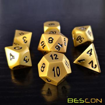 Bescon Heavy Duty Deluxe Matt Golden Solid Metal Dice Set, Golden Metallic Polyhedral D&D RPG Game Dice 7pcs Set