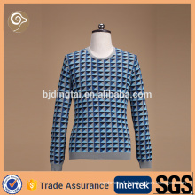 Colorful O neck intarsia sweater manufacturer