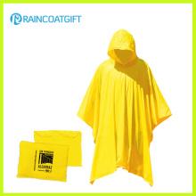 Poncho de lluvia de plástico amarillo reutilizable impermeable