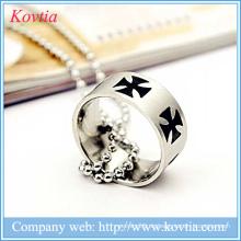 Großhandel Schmuck Preis Metall O Kreuz Ring Rhodium Titan Stahl Ring