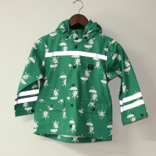 Verde de la historieta gato PU reflexivo lluvia chaqueta/chubasquero