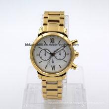 Relógio de aço inoxidável do bracelete do relógio de pulso dos homens impermeáveis 5ATM (ouro)