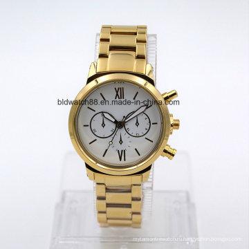 5atm Водонепроницаемый мужская нержавеющей стали наручные часы Браслет (золото)