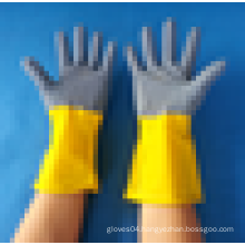 Blue/yellow natural rubber cleaning household latex gloves