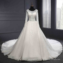 Langarm Backless Spitze Hochzeitskleid