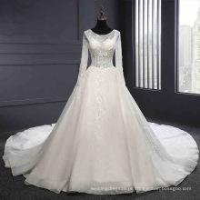 Vestido de noiva de renda sem costas de manga longa