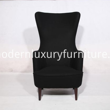 Wingback Chair In Black Cashmere