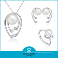 100% Handmade Fashion Pearl Necklace and Ring Jewelry Set (J-0080)