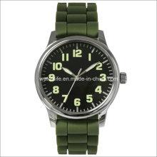 Brazo de acero inoxidable luminosa hombres reloj de pulsera