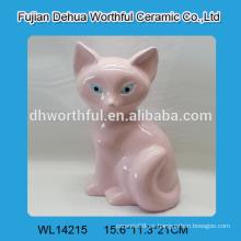 Estatuilla de zorro de cerámica rosa para la decoración del hogar en forma linda