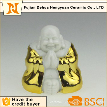 Gold Plating Ceramic Buddha for Home Decoration