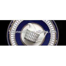 Diseño del cordón del macrame del oro del wedgwood Diseño inescrutable de la forma islámica árabe 16pcs de la cena del avión de la línea aérea del restaurante del hotel
