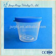 Copo de coleta de urina de material de 40ml PP com tampa azul