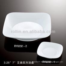 Emmy Serie Hotel & Restaurant weißes Porzellan Geschirr, Porzellanteller, quadratische Gerichte
