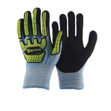 NMSAFETY impact and cut resistant personalized blue winter gloves