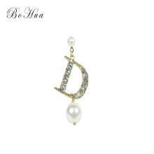 Personnalité Boucles d'oreilles en perles Crystal Fashion D Lettre Boucles d'oreilles Japon et Corée du Sud
