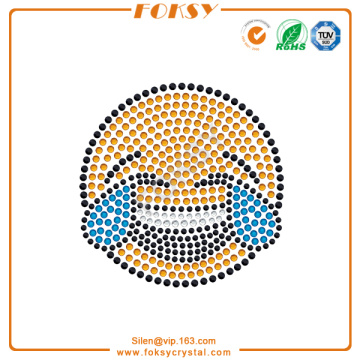 High Quality for Beautiful Graphics Rhinestone Transfer Face with Tears of Joy rhinestone motif export to Malta Factories