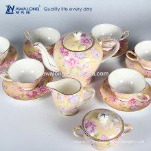 El sistema de té, el té y el sistema de té antiguos florales amarillos encantadores de la venta caliente del hueso de China caliente de China