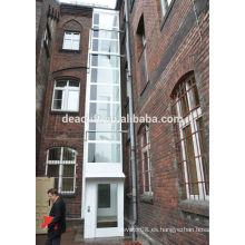 Ascensor panorámico con cabina de vidrio