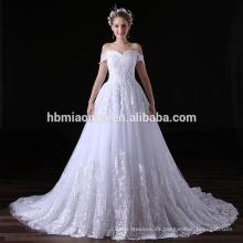 Nuevo vestido de noche de encaje blanco de cola larga para mujeres gordas