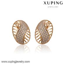 93398 xuping último modelo de moda aro joyería pendiente para mujer con piedra blanca