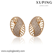 93398 xuping latest model fashion hoop jewelry earring for ladies with white stone