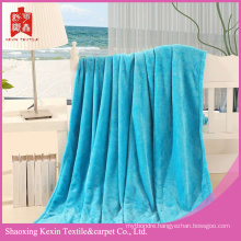 Heavy throw Ocean blue solid color flannel blanket