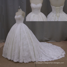 Puffy Ball Gown Heavy Beading Sweetheart Wedding Dress