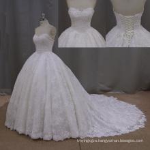 Puffy Ball Gown Heavy Beading Sweetheart Wedding Dress
