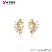 29571 Pendientes de botón de forma especial con joyas de dama chapados en oro con diseño sintético CZ