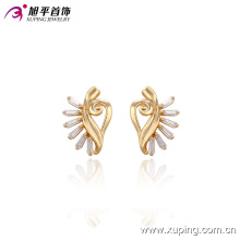 29571 Charming lady jewellery gold plated designs special shape stud earring with Synthetic CZ