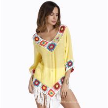 Bohemian Stil Kleidung Pareo Sommer Schal Strand tragen Slub Baumwolle süchtig Blume Quasten Strand Pareo