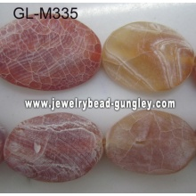 Matte twisted agate bead-red