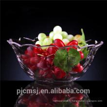 Plaque brève de fruit en cristal pour des décorations à la maison, cuvette de fruit en cristal