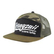 gorra de malla de camionero de sombrero de borde plano de promoción de patrón de hombre de deporte personalizado