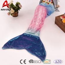 Rainbow Metallic Foil Print Franela Fleece Mermaid Tail Blanket Bolsa de dormir para niños con lentejuelas