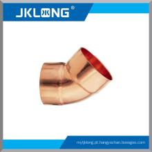 J9007 Conexões de cobre Cotovelo de cobre de 45 graus, encaixe de tubulação de cobre