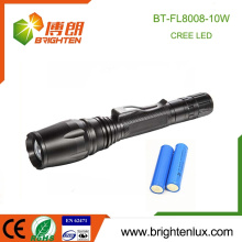 Factory Supply High Power Best Aluminum Adjustable Focus Emergency Bright Cree 10w Rechargeable cree xml t6 led flashlight