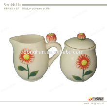 cartoon sun flower milk and sugar jar