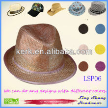 2013 Sombreros de papel naturales simples al por mayor de la manera el 100% sombrero de papel del sombrero de paja, LSP06